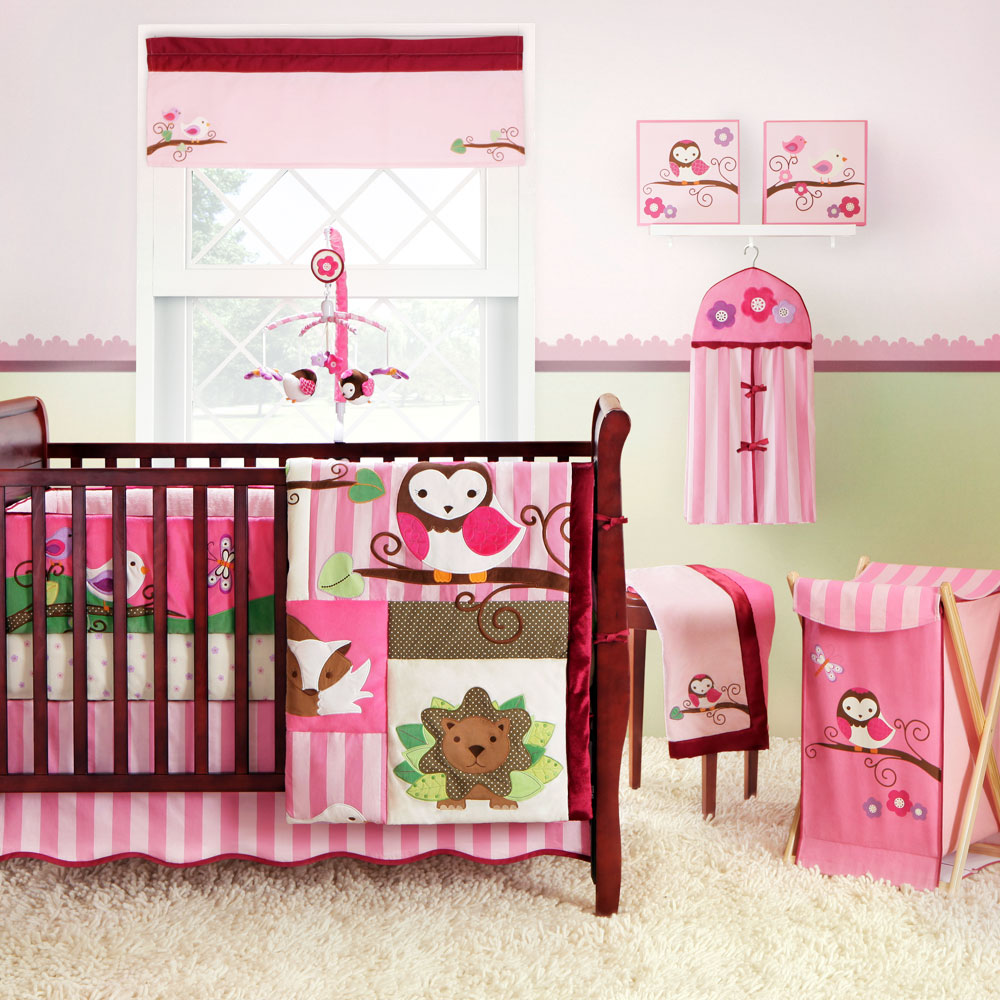 Image of: Owl Pink Baby Bedding Girls