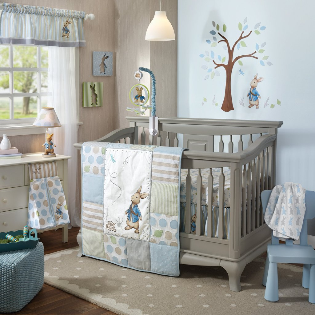 Image of: Peter Rabbit 4 Piece Crib Bedding Set Lamb Ivy Turquoise Bedding Set For Baby Theme