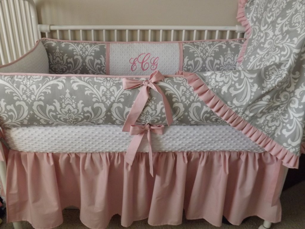 Image of: Pink Gray Damask Baby Bedding Crib Set Deposit Yellow Bedding Sets For Baby Bed