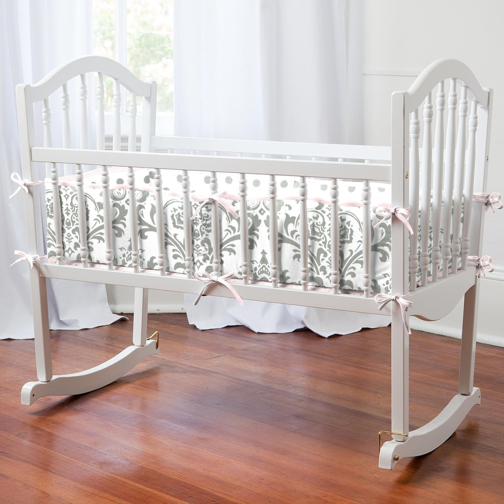 Image of: Pink Gray Tradition 3 Piece Cradle Bedding Set Yellow Bedding Sets For Baby Bed