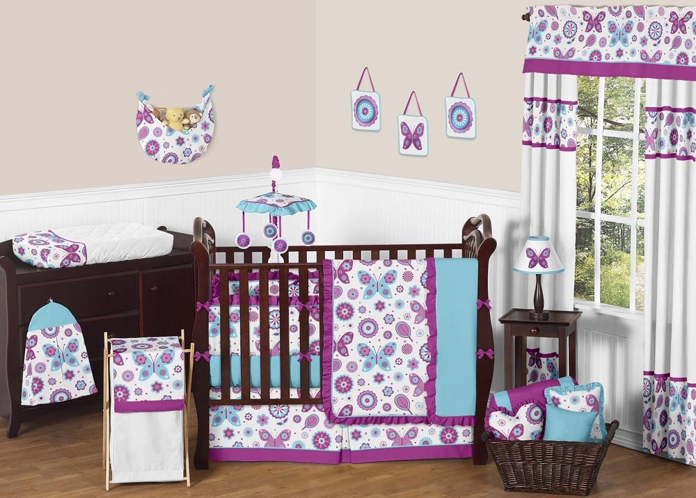 Image of: Purple Baby Girl Crib Bedding Quote Turquoise Bedding Set For Baby Theme