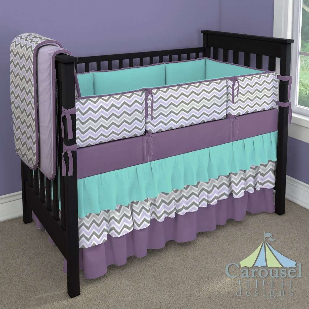 Image of: Purple Chevron Crib Bedding 28 Image Lilac Slate Turquoise Bedding Set For Baby Theme