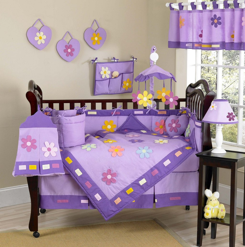 Image of: Purple Daisy Floral Baby Girl Crib Bedding 9pc Nursery Set Turquoise Bedding Set For Baby Theme