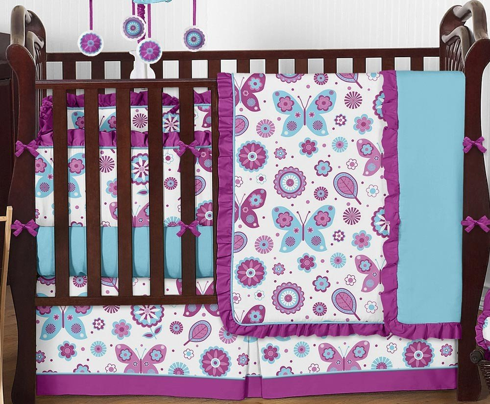 Image of: Purple Turquoise Crib Bedding Brimlee Purple Turquoise Bedding Set For Baby Theme