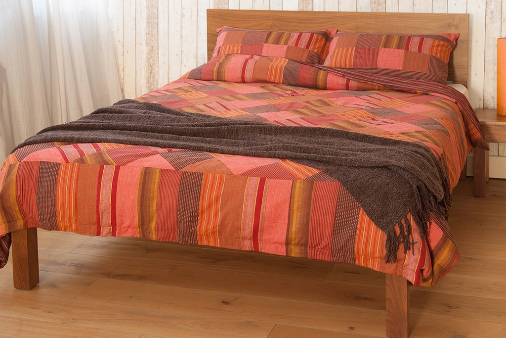 Image of: Red Madra Check Patchwork Duvet Cover Natural Bed Company Orange Bedding Sets And Covers