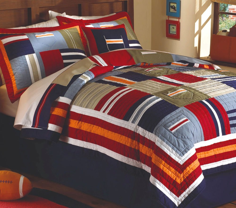 Image of: Ronnie Varsity Twin Single Quilt Set Teen Boy Blue The Downside Risk of Teen Boys Bedding That No One Is Talking About