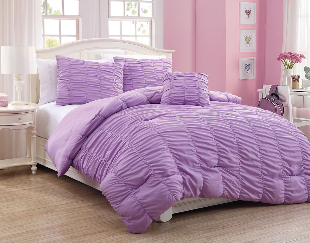 Image of: Ruffle Comforter Set Purple