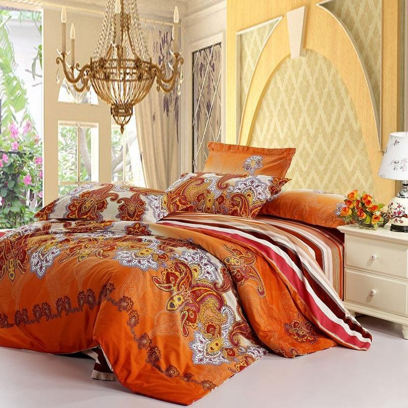 Rust Orange White Purple Western Paisley Pop Print Wide Stripe Full Queen Size Tribal Orange Bedding Sets And Covers