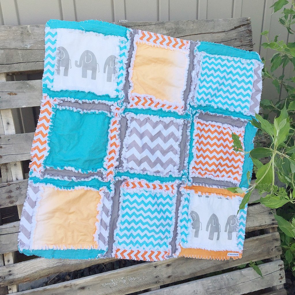 Safari Nursery Small Rag Quilt Orange Turquoise Gray New Boys Bedding For Have Fun And Rest