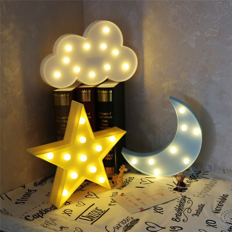 Image of: Safety Vvcare Bc Nl02 Led Night Light Kid Moon and Stars Bedding Set