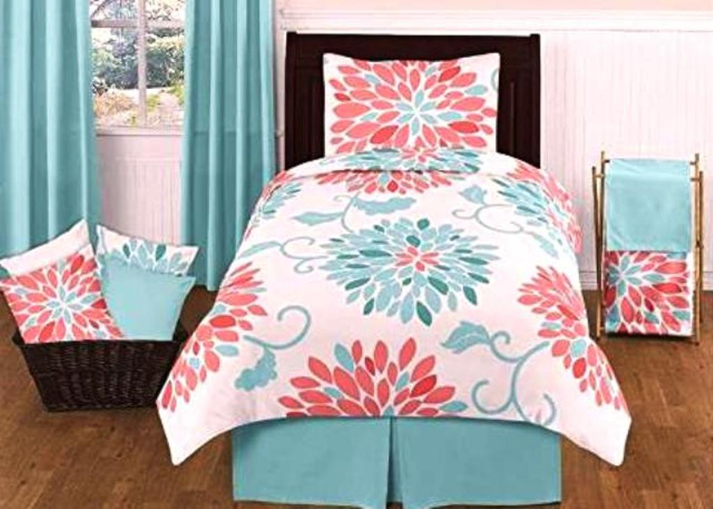 Image of: Simple Coral And Turquoise Twin Bedding