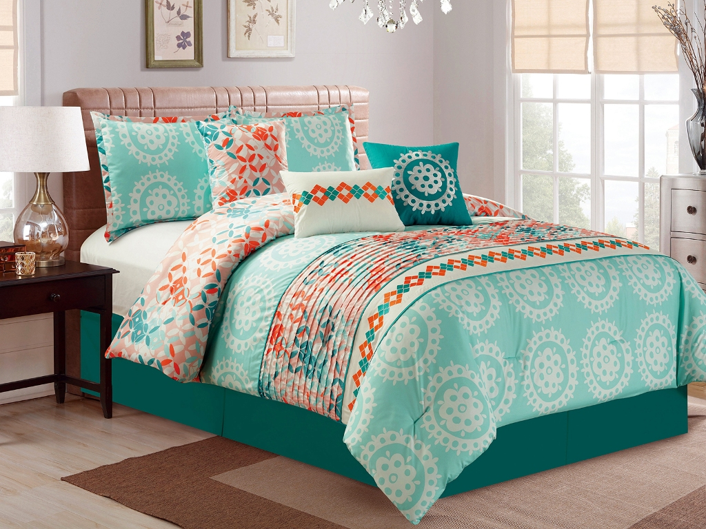 Image of: Simple Orange And Teal Bedding