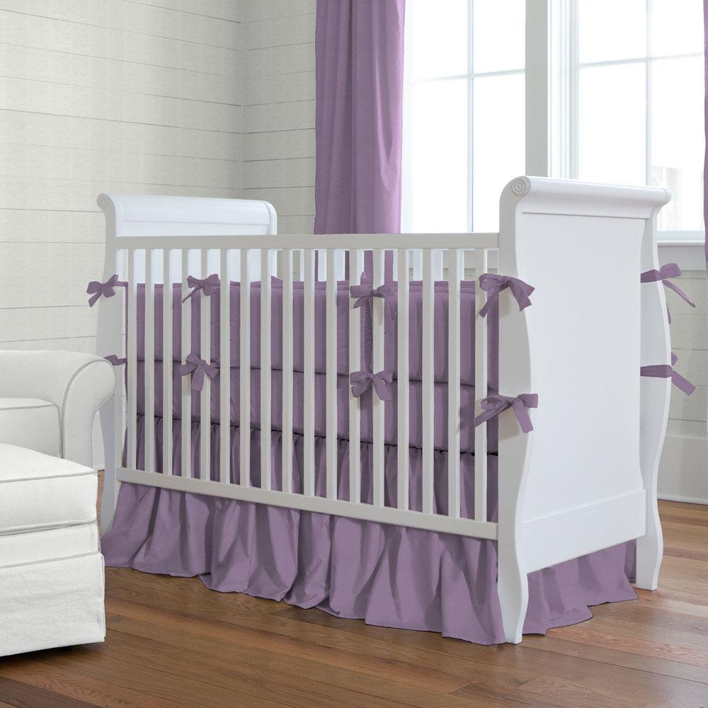 Image of: Solid Aubergine Purple Crib Bedding Carousel Design Turquoise Bedding Set For Baby Theme
