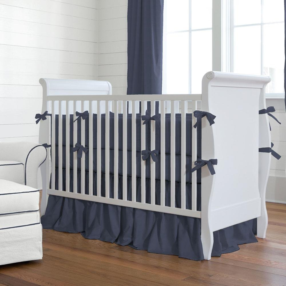 Image of: Solid Navy Crib Bumper Carousel Design Yellow Bedding Sets For Baby Bed