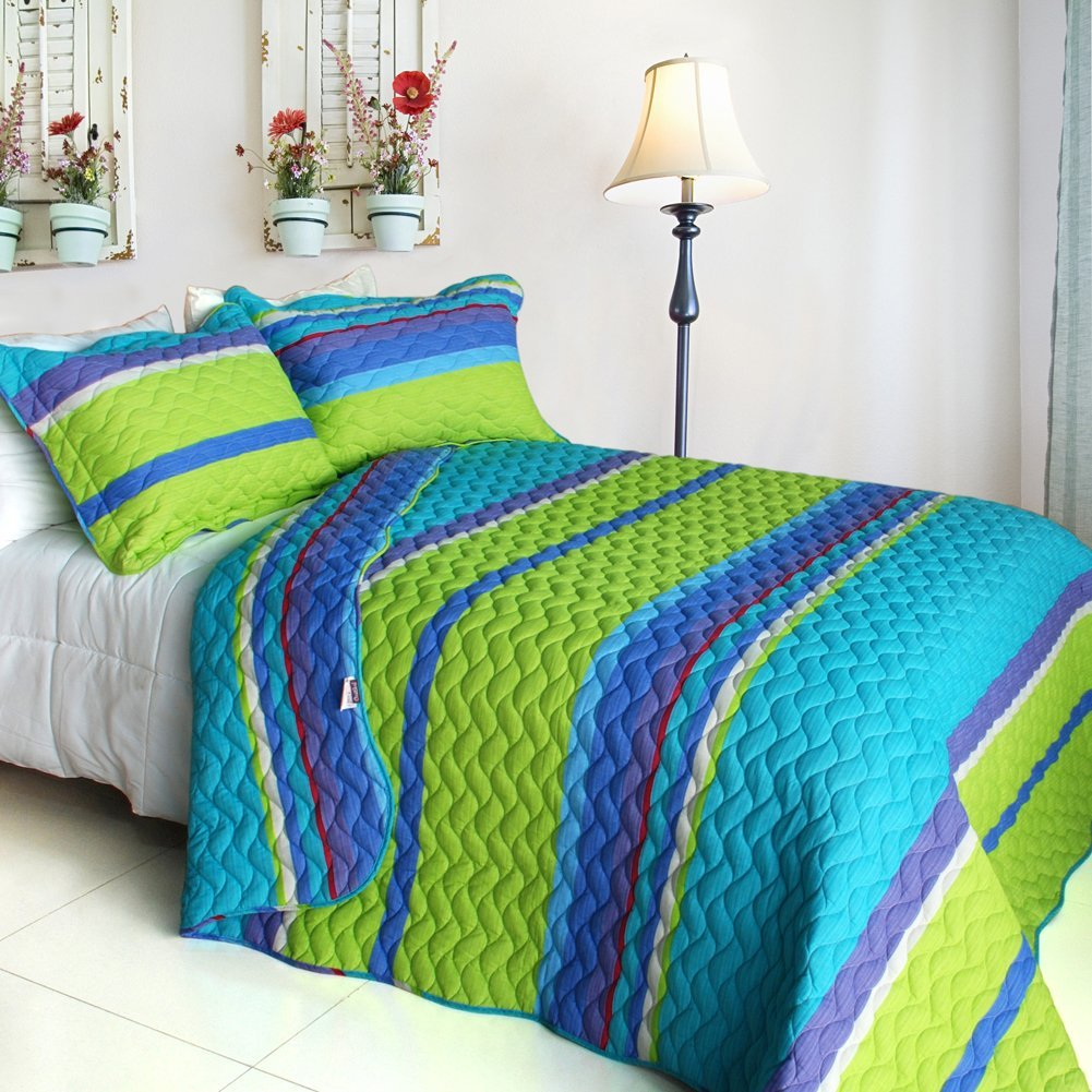 Image of: Stripe Blue and Green Bedding Sets