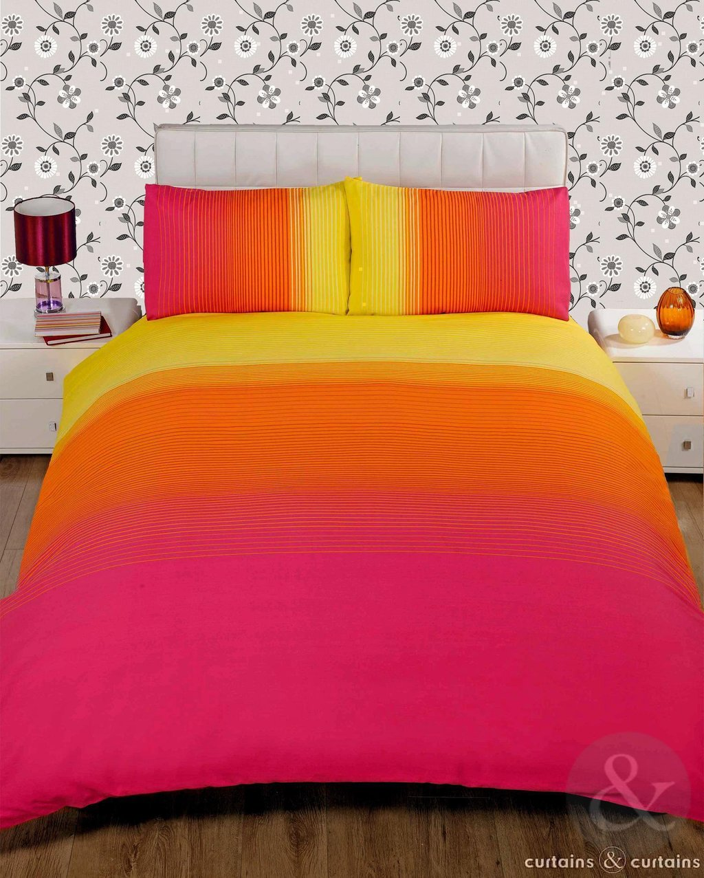 Image of: Striped Pink Yellow Printed Duvet Cover Bedding Uk Orange Bedding Sets And Covers