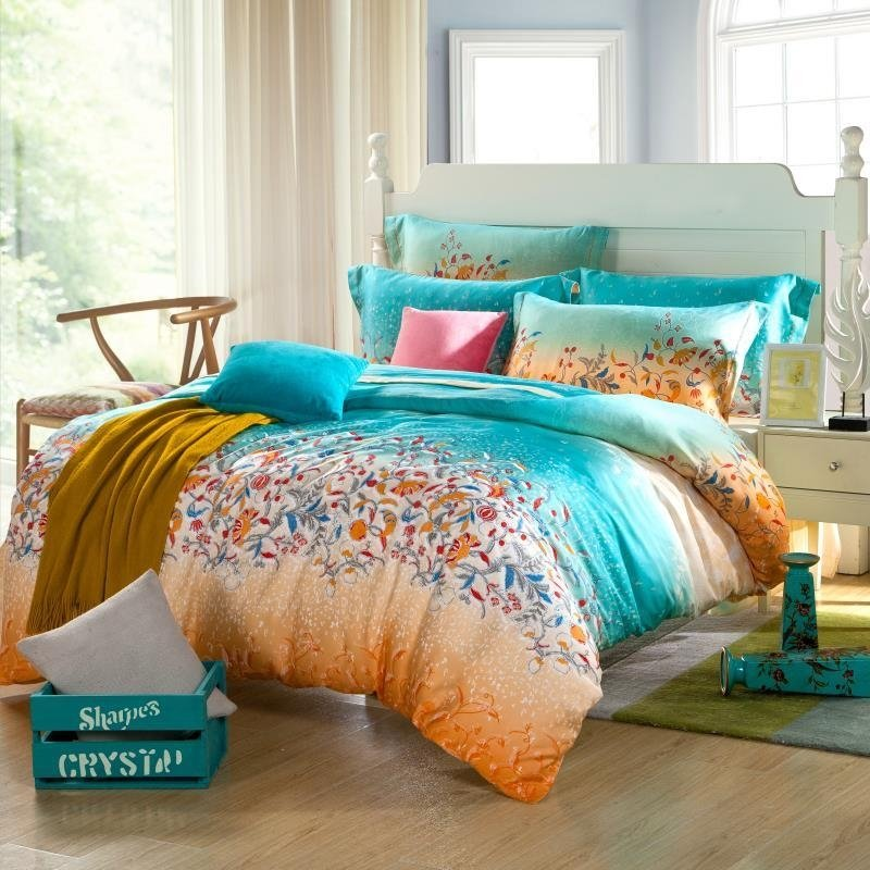 Image of: Teal Blue Orange Tribal Floral Print Full Queen Size Orange Bedding Sets And Covers