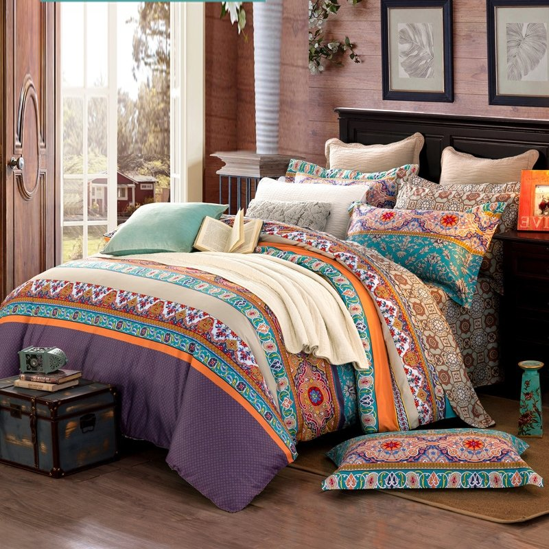 Image of: Turquoise Orange Brown Colorful Stripe Bohemian Chic Tribal Print Southwestern Style 100 Orange Bedding Sets And Covers