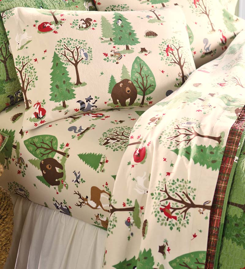 Image of: Woodland Friends Flannel Sheet