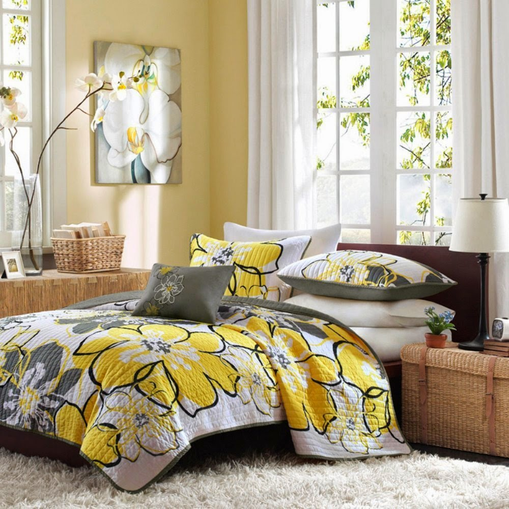 Image of: Yellow And Grey Bedding Walmart