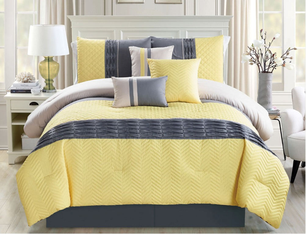 Image of: Yellow And Grey Chevron Bedding