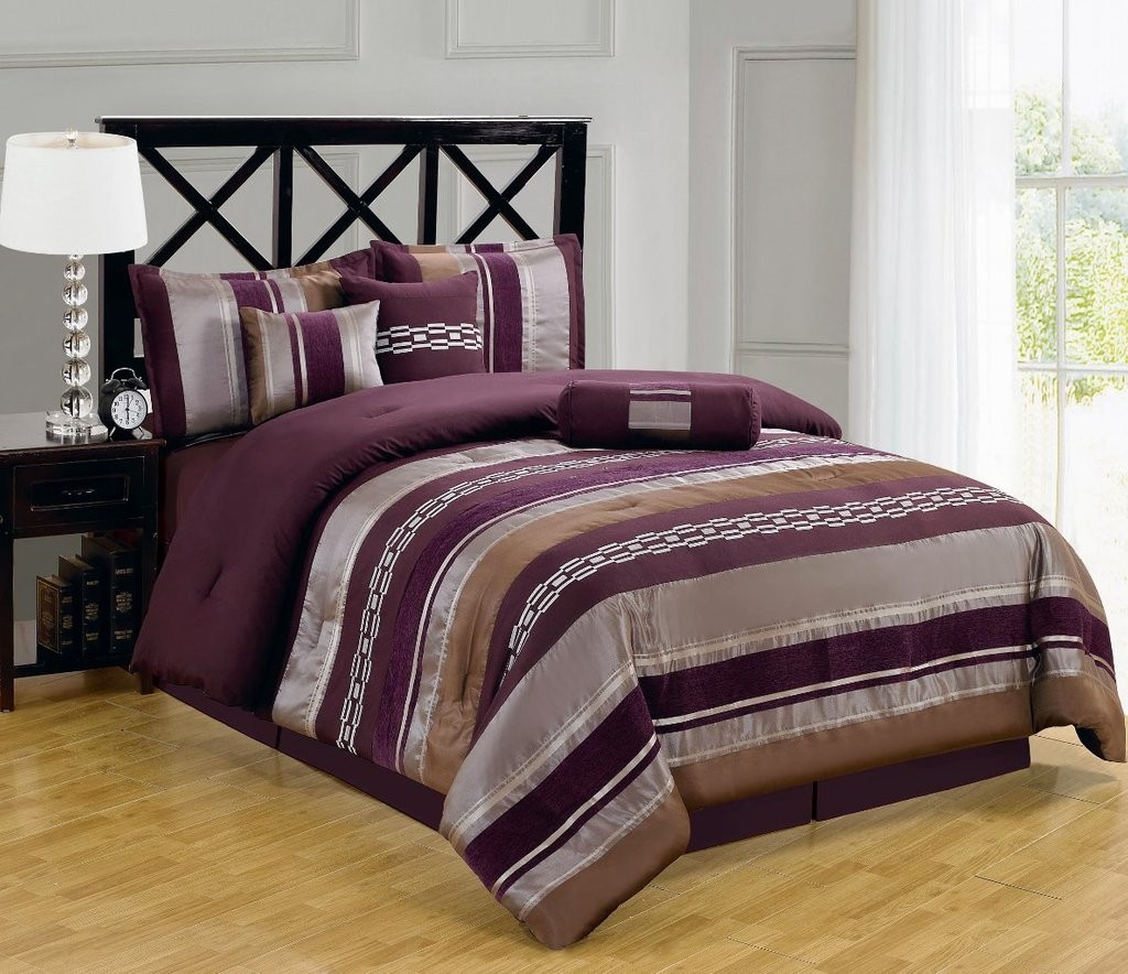 Image of: 11pc Claudium Purple Luxury Bedding Set Purple Teal Bedding Sets For Girl