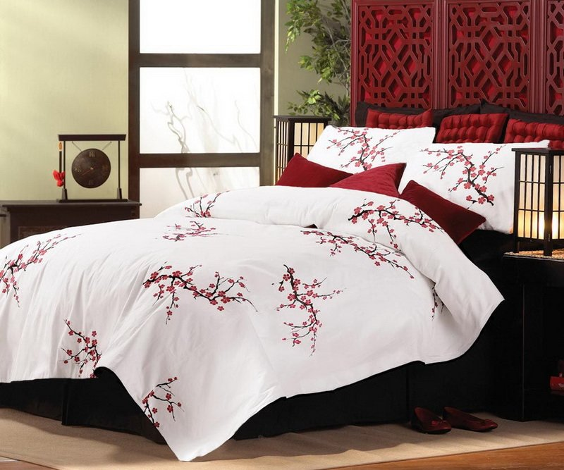 Image of: Asian Cherry Blossom Style King Size Comforter Relax and Escape Japanese Bed Set