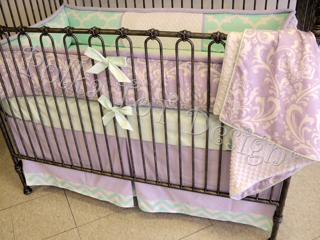 Image of: Baby Bedding Lavender Mint Gracely Purple Teal Bedding Sets For Girl