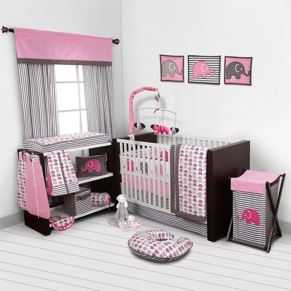 Image of: Baby Girl Bedroom Set Nursery Bedding Elephant Pink Grey 10 Pc Crib Infant Room Bacati Cute Elephant Baby Girl Bedding Theme