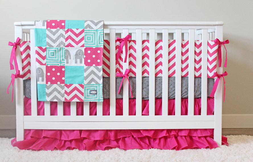 Image of: Baby Girl Elephant Bedding Sets