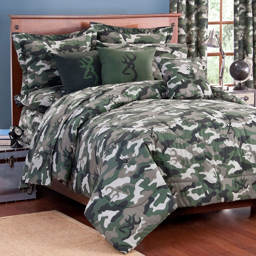 Image of: Buckmark Camo Green Comforter Sham Set Kimlor Mills Get the Most Out of a Hunting Bed Sets