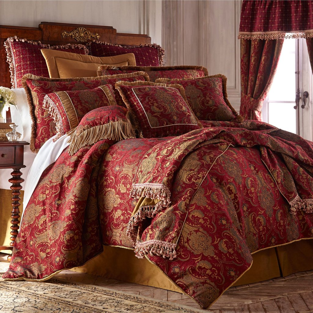 Image of: China Art Ruby Red Asian Inspired Comforter Bedding Relax and Escape Japanese Bed Set