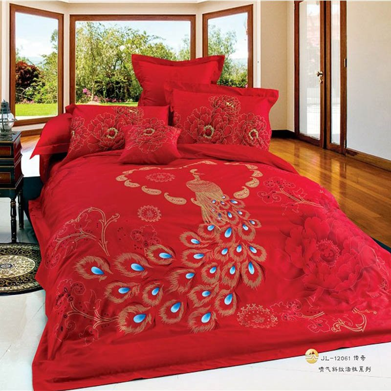 Image of: Chinese Wedding Peacock Phoenix Print Oriental Bedding Set Relax and Escape Japanese Bed Set