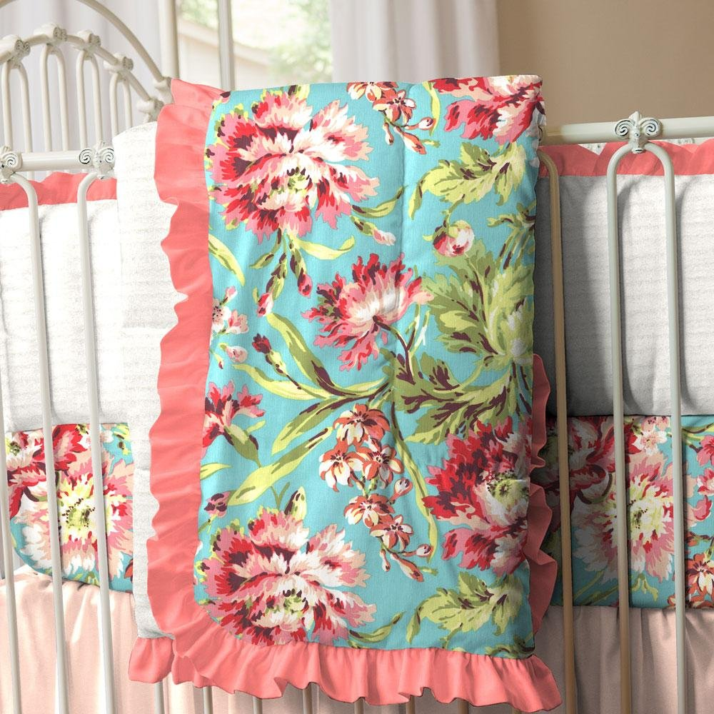 Image of: Coral Teal Floral Crib Comforter Carousel Design Top Coral and Turquoise Bedding Guide!