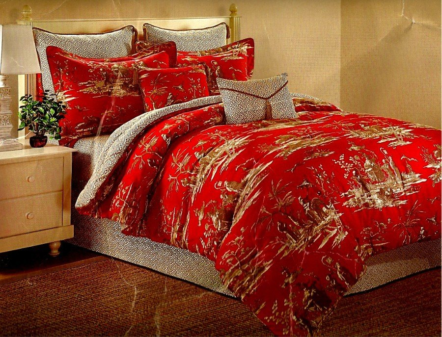 Image of: Dynasty Cotton Asian Toile Reversible Comforter Set Relax and Escape Japanese Bed Set