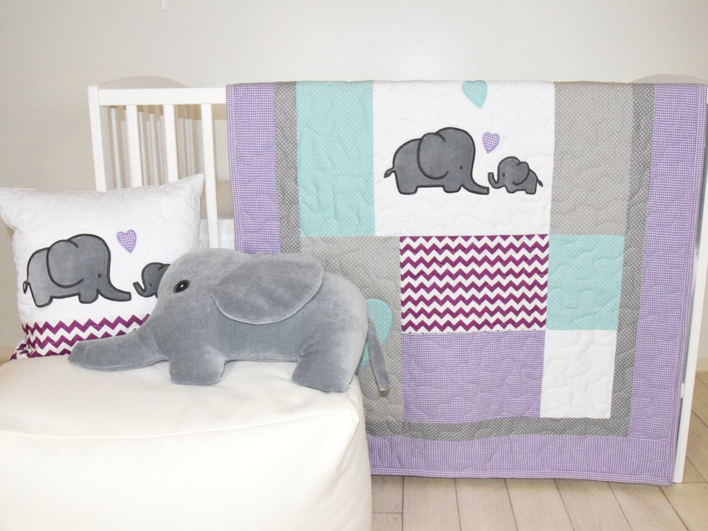 Image of: Elephant Baby Quilt Gray Purple Teal Crib Bedding Purple Cute Elephant Baby Girl Bedding Theme