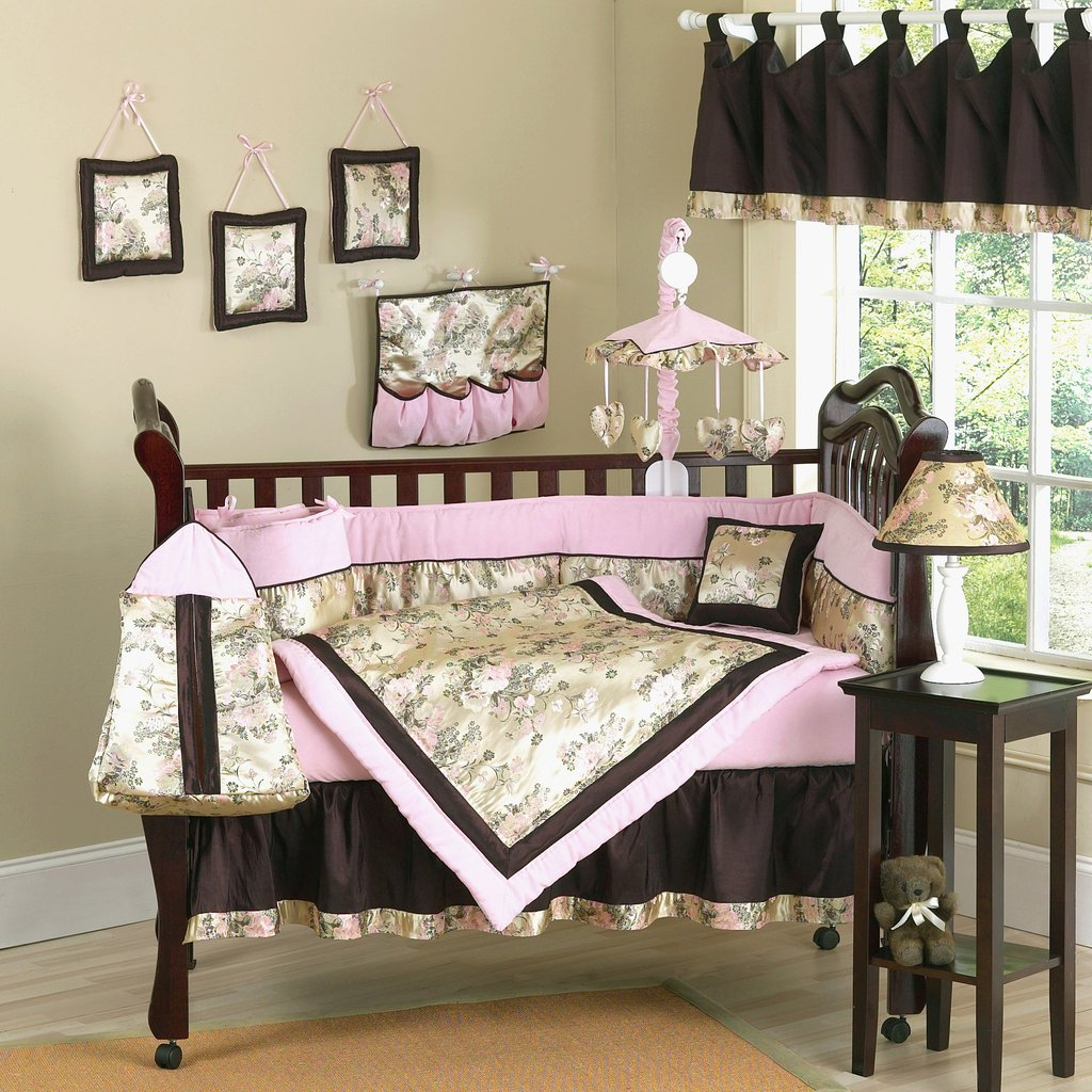 Feature Light Decor Terrific Light Pink Brown Baby Bedding Pc Crib Ing Light Purple Baby Bedding Sets Design
