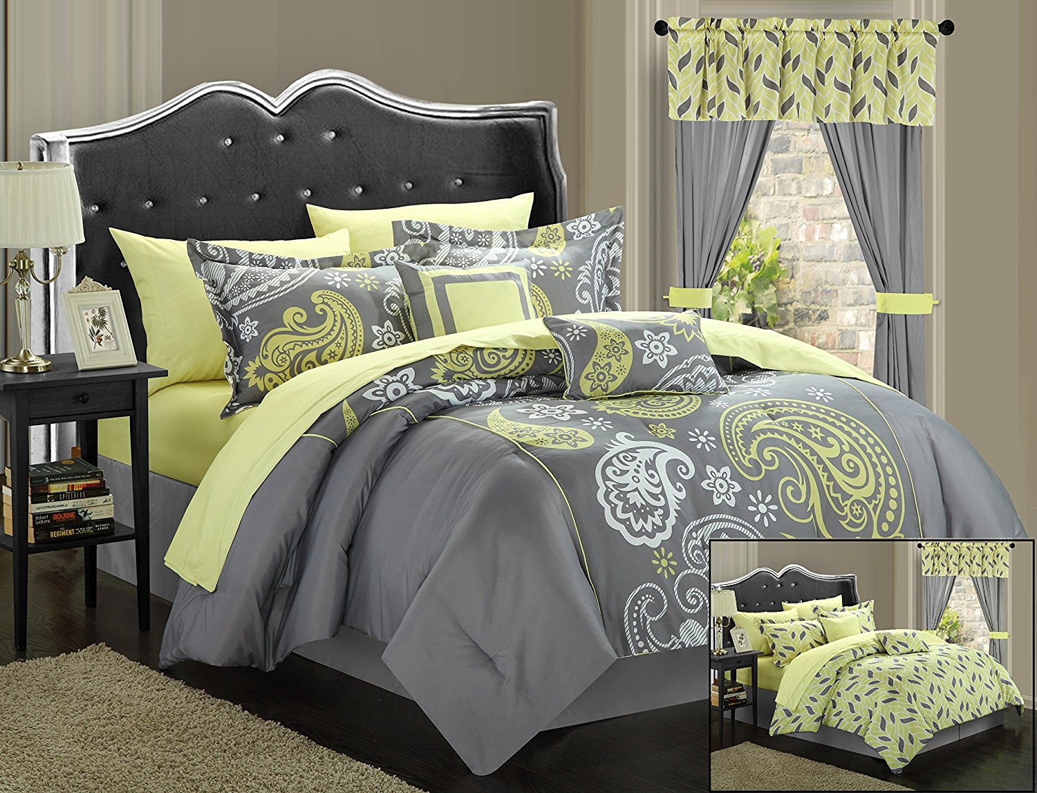 Image of: Grey And Yellow Bedding