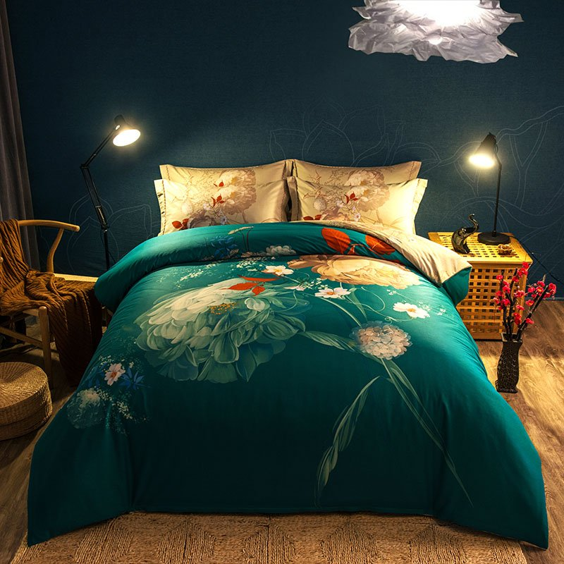 Image of: Luxury Chinese Printed Bedding Set Set Full Queen King Relax and Escape Japanese Bed Set