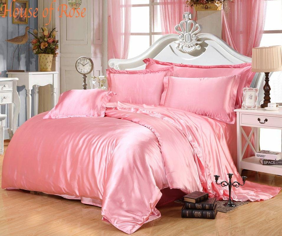 Image of: Luxury Light Pink Silk Bedding Set Chinese Silk Duvet Cover Set Satin Bedroom Set King Queen Purple Teal Bedding Sets For Girl