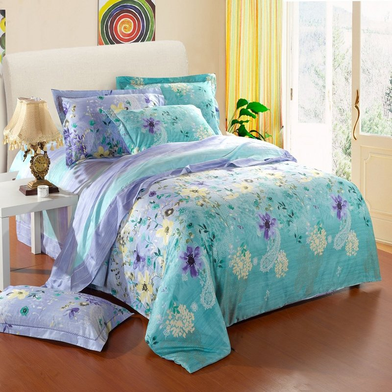 Image of: Mint Green Yellow Lavender Purple Country Floral Print Western Paisley Print Full Purple Teal Bedding Sets For Girl
