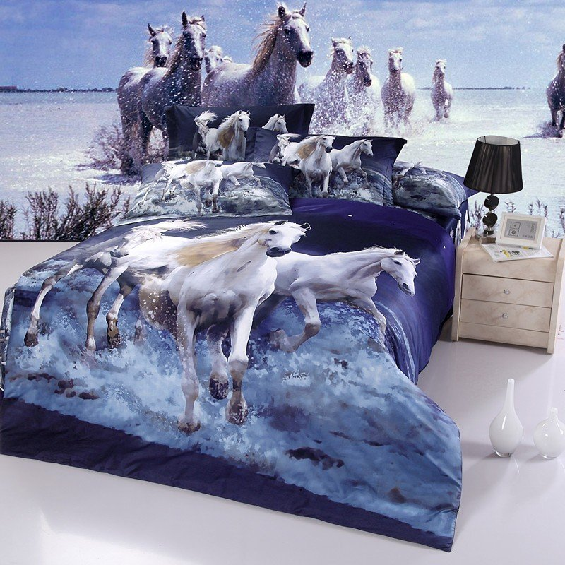 Image of: Oil Painting Running Horse Full Queen Duvet Cover Unique Horse Themed Bedding Sets For Children