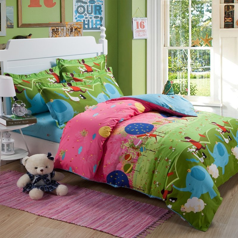 Image of: Olive Green Red Pink Farm Animal Themed Cute Elephant Unique Horse Themed Bedding Sets For Children