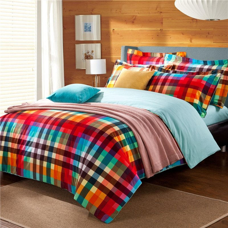 Image of: Orange Lime Green Bright Colorful Gingham Plaid Print Traditional Vogue Luxury 100 Brushed Purple Teal Bedding Sets For Girl
