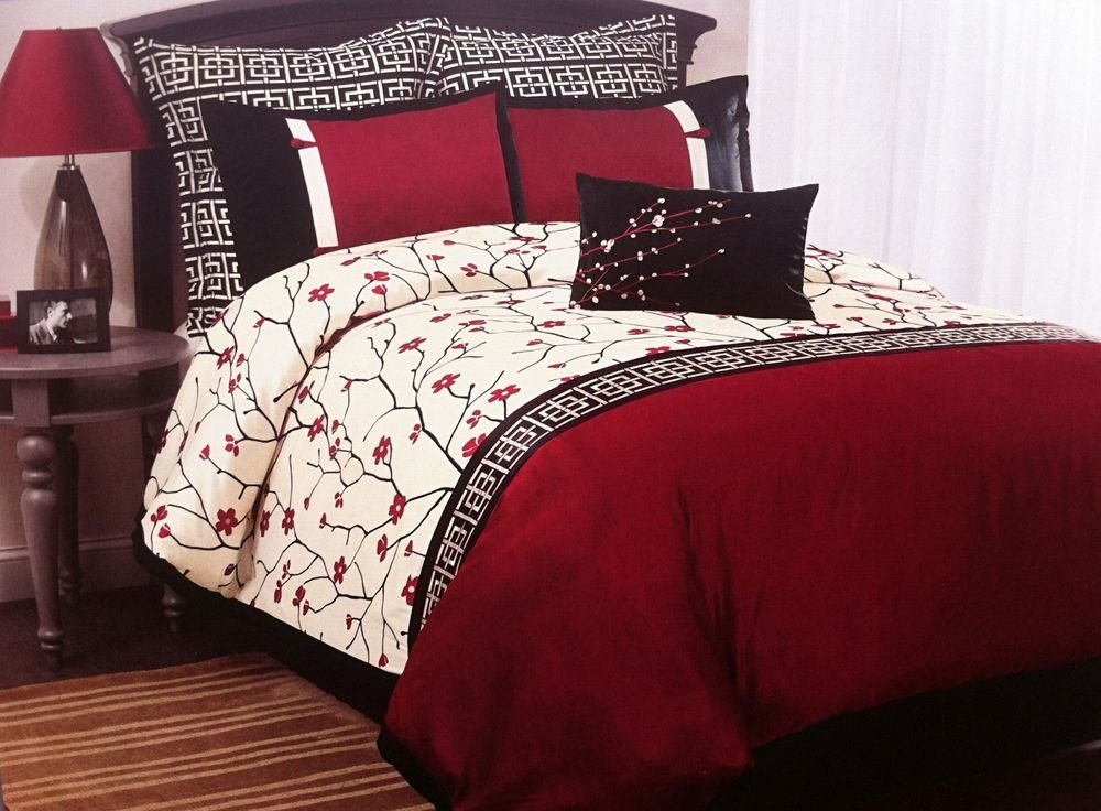 Image of: Oriental Asian Cherry Blossom Sakura Red Black 7pc Queen Relax and Escape Japanese Bed Set