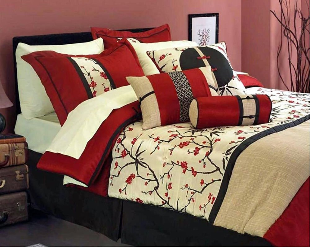 Image of: Oriental Fuji Garden Wine Black Beige Bedspread Throw Relax and Escape Japanese Bed Set