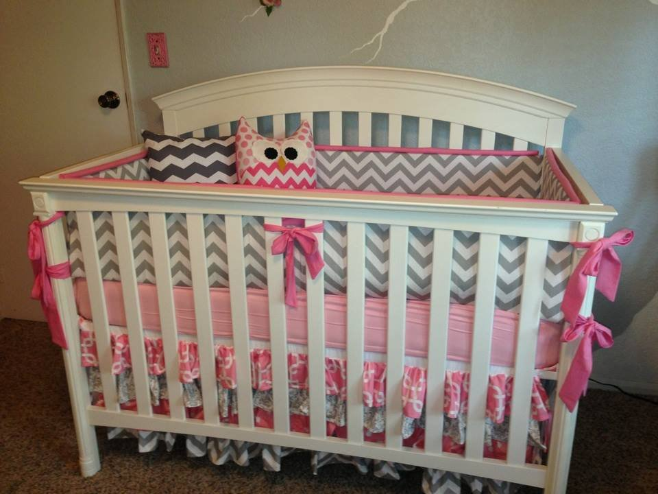 Image of: Pink Gray Chevron Crib 28 Image Pink Gray Chevron Crib Rail Cover Carousel Design Cute Elephant Baby Girl Bedding Theme