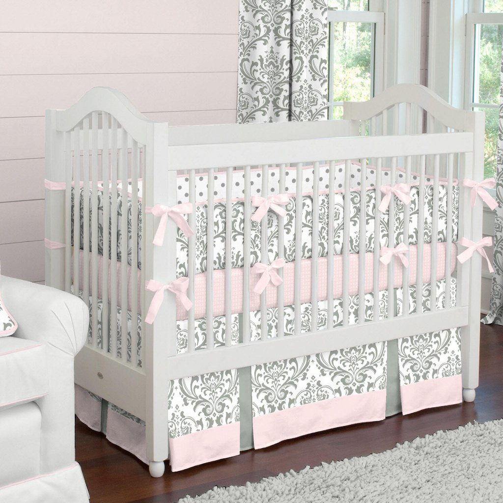 Image of: Pink Gray Tradition Crib Bedding Girl Baby Bedding Carousel Design Cute Elephant Baby Girl Bedding Theme