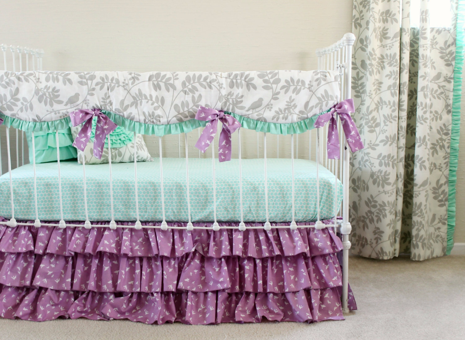 Image of: Purple and Mint Baby Bedding