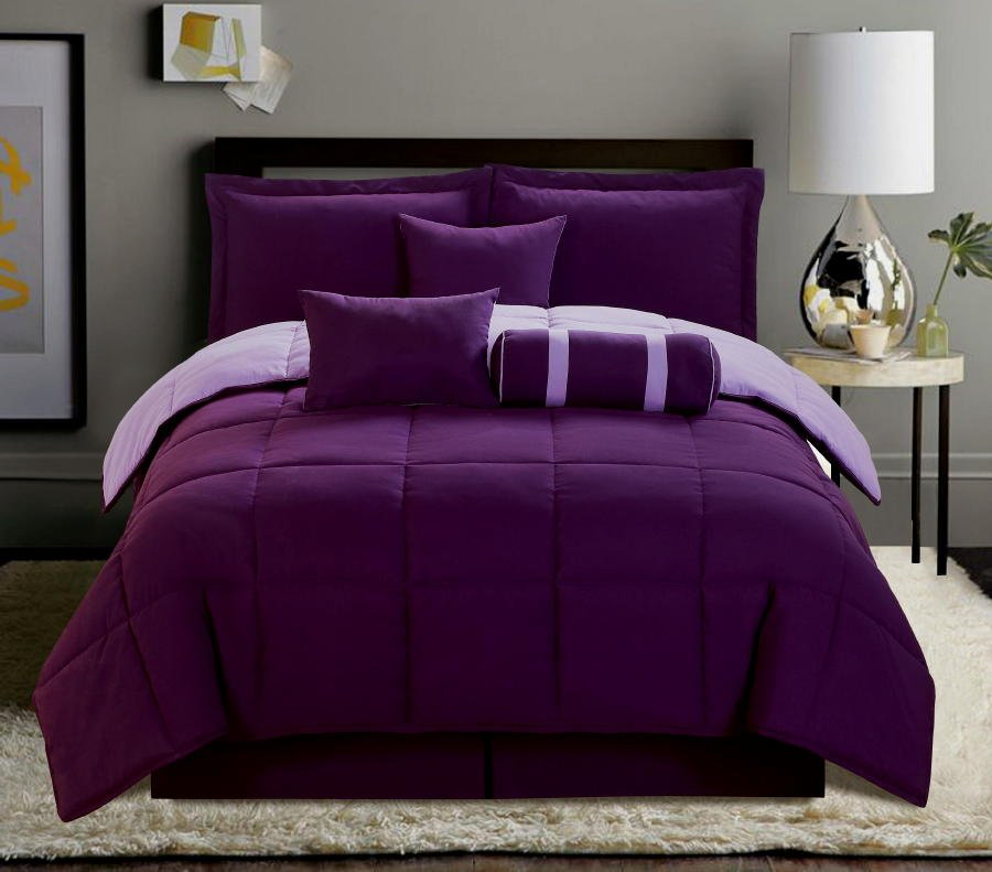 Image of: Purple Bed Set King Size 28 Image 7 Pc Purple Black Purple Teal Bedding Sets For Girl